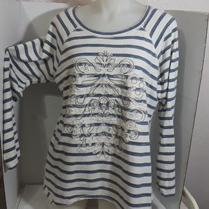 Democracy Striped  Embroiderdl Top  XL